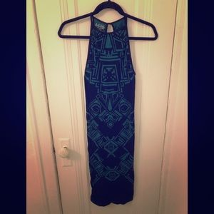 Free people bodycon black and teal dress size xs